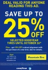 SAVE UP TO 25% OFF SELECTED GOODYEAR TIRES UNTIL OCTOBER 26th