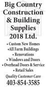 Big Country Construction & Building Supplies 2018 Ltd.