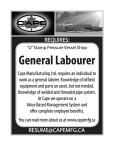 CAPE MANUFACTURING  REQUIRES: 'U' Stamp Pressure Vessel Shop