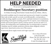 Killam Krossing Hotel now accepting applications for a Bookkeeper/Secretary position