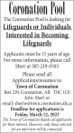 Coronation Pool is looking for Lifeguards or Individuals Interested in Becoming Lifeguards