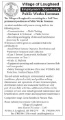 Village of Lougheed Employment Opportunity - Public Works Foreman