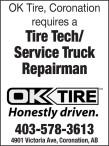 OK Tire, Coronation requires a Tire Tech/ Service Truck Repairman