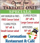 Specials at Coronation Restaurant & Cafe