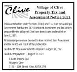 Village of Clive Property Tax and Assessment Notice 2021