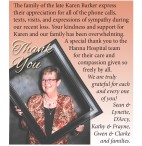 The family of the late Karen Barker express their appreciation