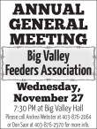 Big Valley Feeders Association ANNUAL GENERAL MEETING