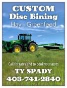 CUSTOM Disc Bining, Hay - Greenfeed