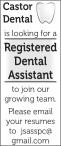 Castor Dental is looking for a Registered Dental Assistant