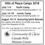 Hills of Peace Camps 2018