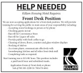Front Desk Position at Killiam Krossing Available