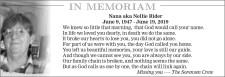 In Memoriam, Nana aka Nellie Rider