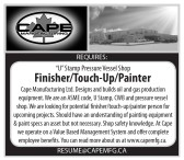 """""""U"""" Stamp Pressure Vessel Shop Finisher/Touch-Up/Painter Required"""