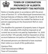 Town of Coronation Province of Alberta 2020 Property Tax Notices
