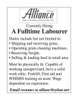 Currently Hiring A Full-time Labourer