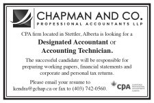 CPA firm located in Stettler, Alberta is looking for a Designated Accountant or Accountant Technician.