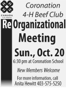 Coronation 4-H Beef Club  ReOrganizational Meeting