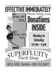 Please bring your Donations INSIDE to Superfluity Shop