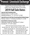 Provost Livestock Exchange 2019 Fall Sale Dates