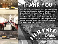 On behalf of Castor Minor Sports we would like to thank you