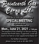 Paintearth Gas would like to invite our members to a SPECIAL MEETING