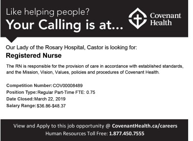 Our Lady of the Rosary Hospital, Castor is looking for Registered Nurse