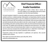 Chief Financial Officer with Acadia Foundation required