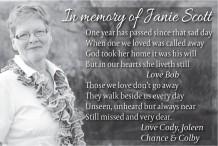 In memory of Janie Scott