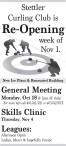 Stettler Curling Club is Re-Opening week of Nov 1.