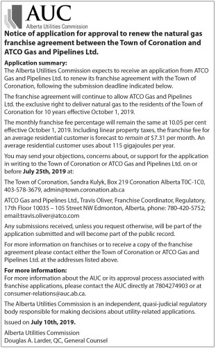 Alberta Utilities Notice of Application for Approval
